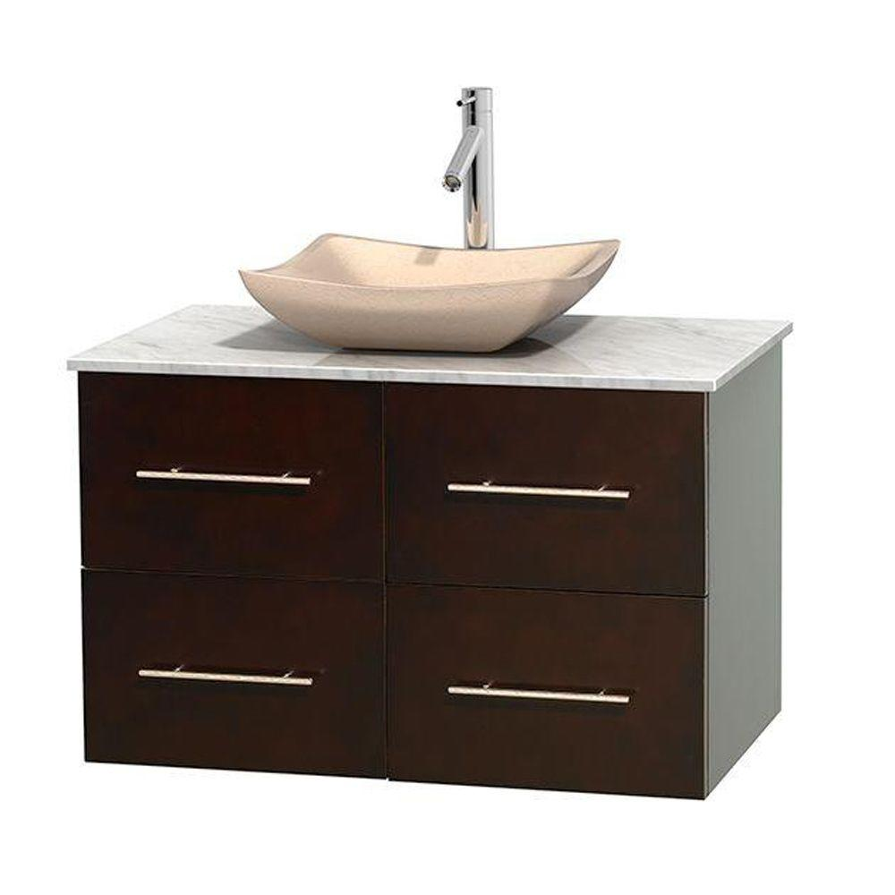 Wyndham Collection Centra 36 in. Vanity in Espresso with Marble Vanity Top in Carrara White and Sink