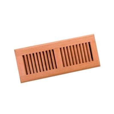 4 in. x 12 in. Wood Brazilian Cherry Unfinished Surface Mount Register