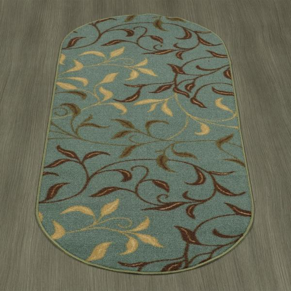 Runner Rug Area Seafoam 3 ft x 10 ft Leaves Design Antimicrobial Rubber Backing