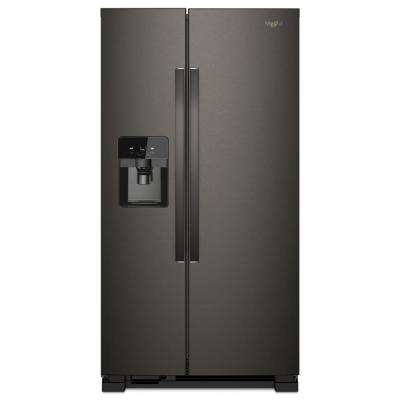 36 in. W 25 cu. ft. Freestanding Side by Side Refrigerator in Fingerprint Resistant Black Stainless Steel