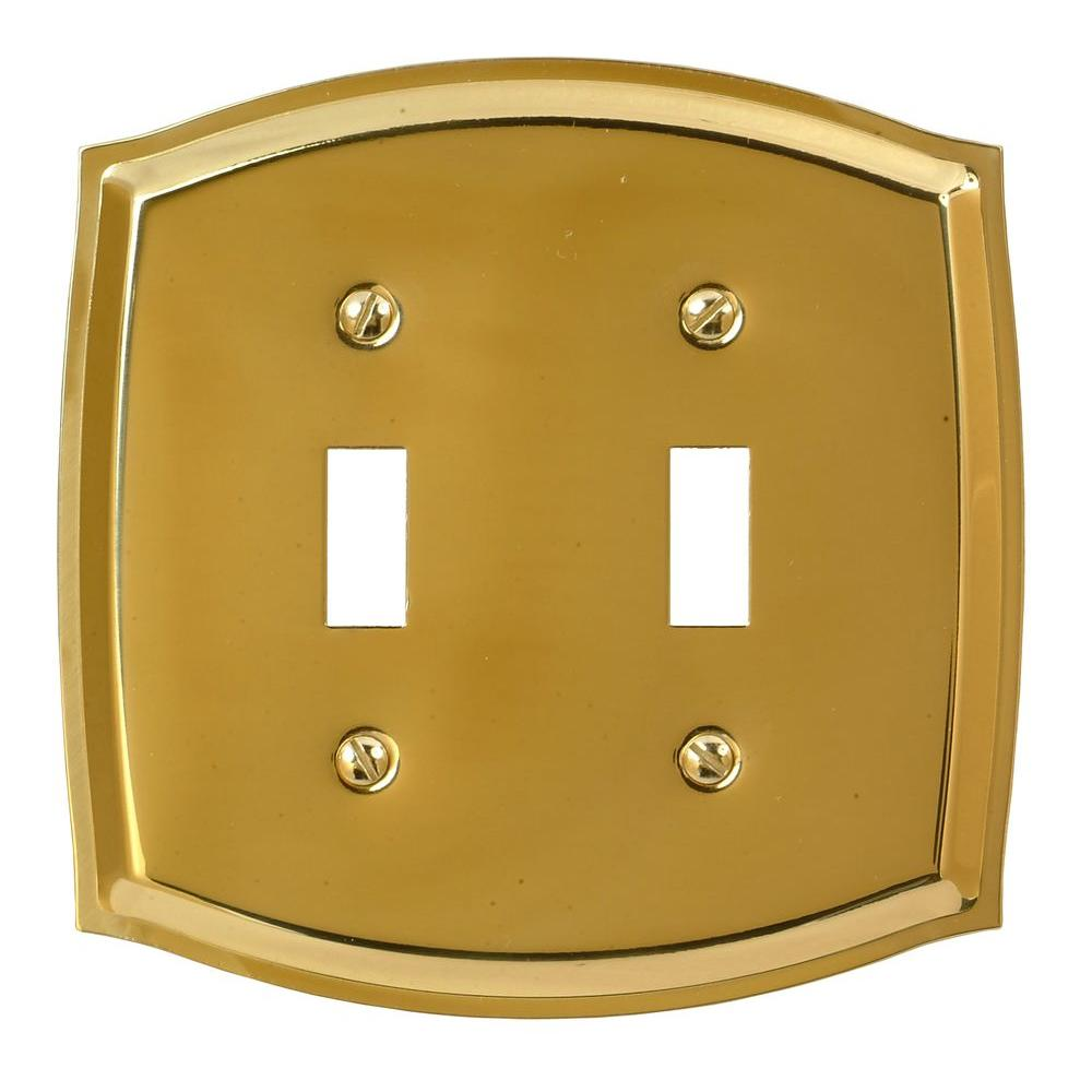 Amerelle Sonoma 2 Toggle Wall Plate - Polished Brass