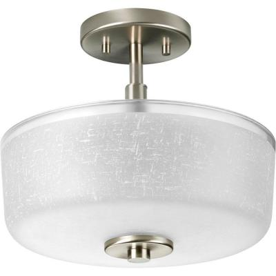 Alexa Collection 2-Light Brushed Nickel Semi-Flush Mount