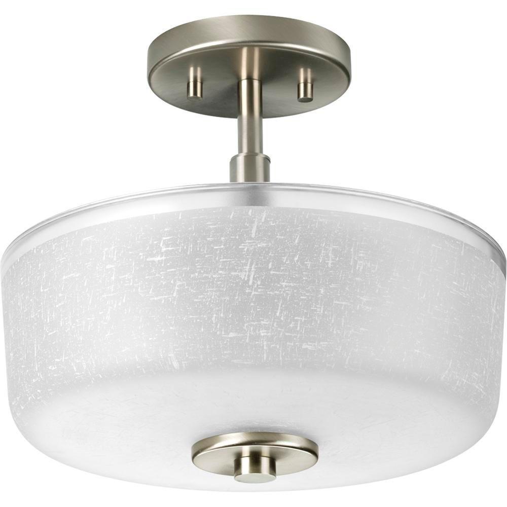 Alexa Collection 2-Light Brushed Nickel Semi-Flush Mount