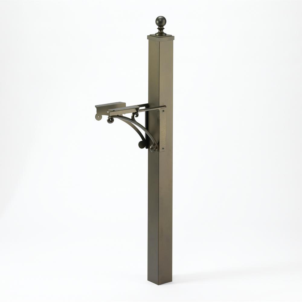 Deluxe Mailbox Post and Brackets in French Bronze