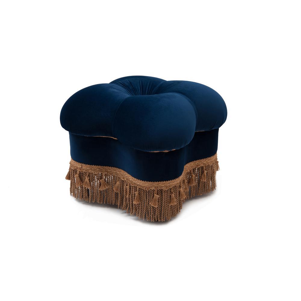 Ellen navy blue hand tufted ottoman
