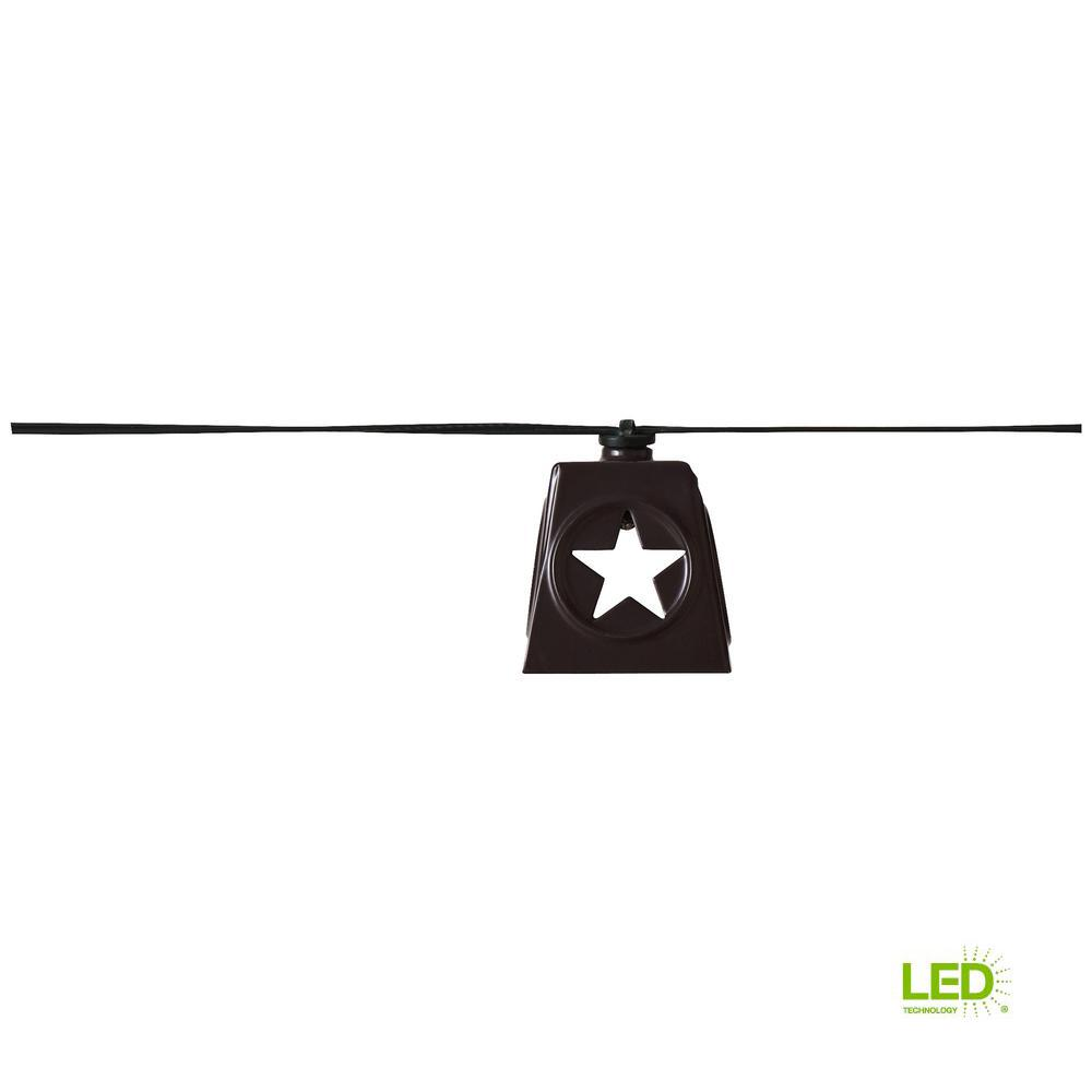 Solar 10-Light 150 in. Integrated LED String Light with Lone Star