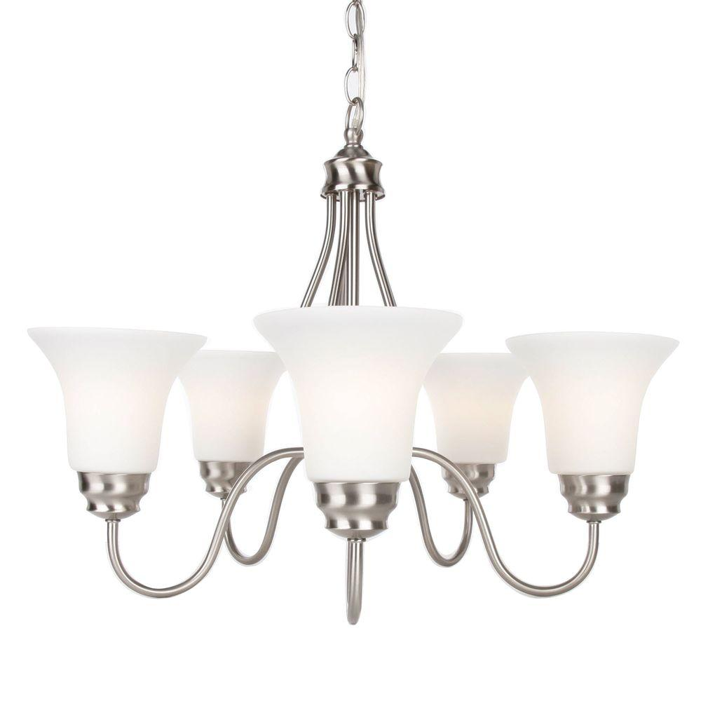 Commercial Electric 5-Light Brushed Nickel Reversible Chandelier