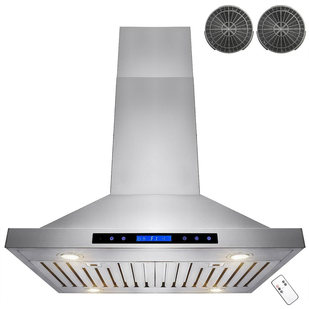 Captivating Convertible Kitchen Island Mount Range Hood In Stainless Steel