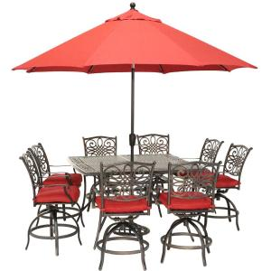 Traditions 9-Piece Aluminum Outdoor Dining Set with Red Cushions, 8-Swivel Chairs, Square Table, Umbrella and Stand