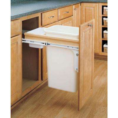 21.75 in. H x 15 in. W x 23.25 in. D Single Pull-Out Top Mount Wood and White Container for W 1-1/2 in. Face Frame