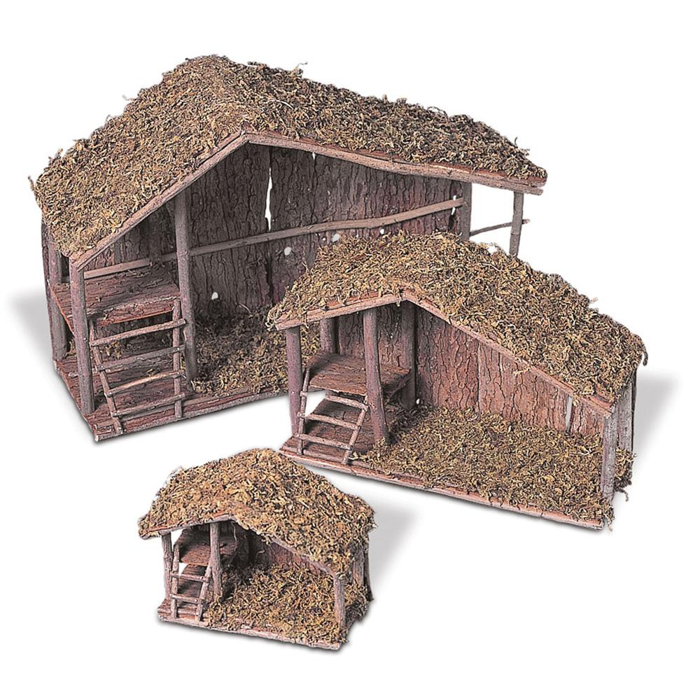 Assorted Solid Wood Nativity Stables with Moss Covered Roofs (Set of