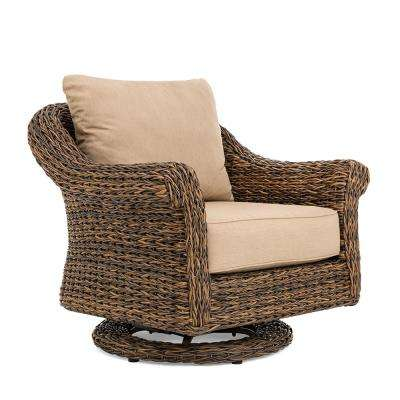 Bahamas Swivel Wicker Outdoor Lounge Chair with Sunbrella Canvas Heather Beige Cushion