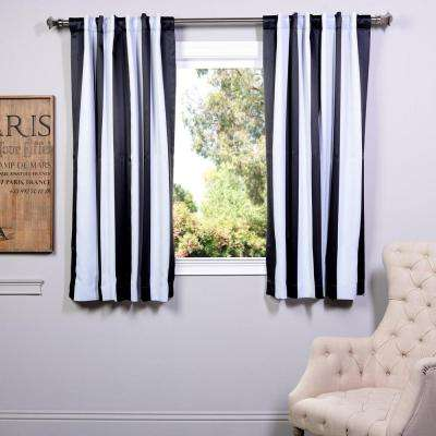 Semi-Opaque Awning Black and White Stripe Blackout Curtain - 50 in. W x 63 in. L (Panel)