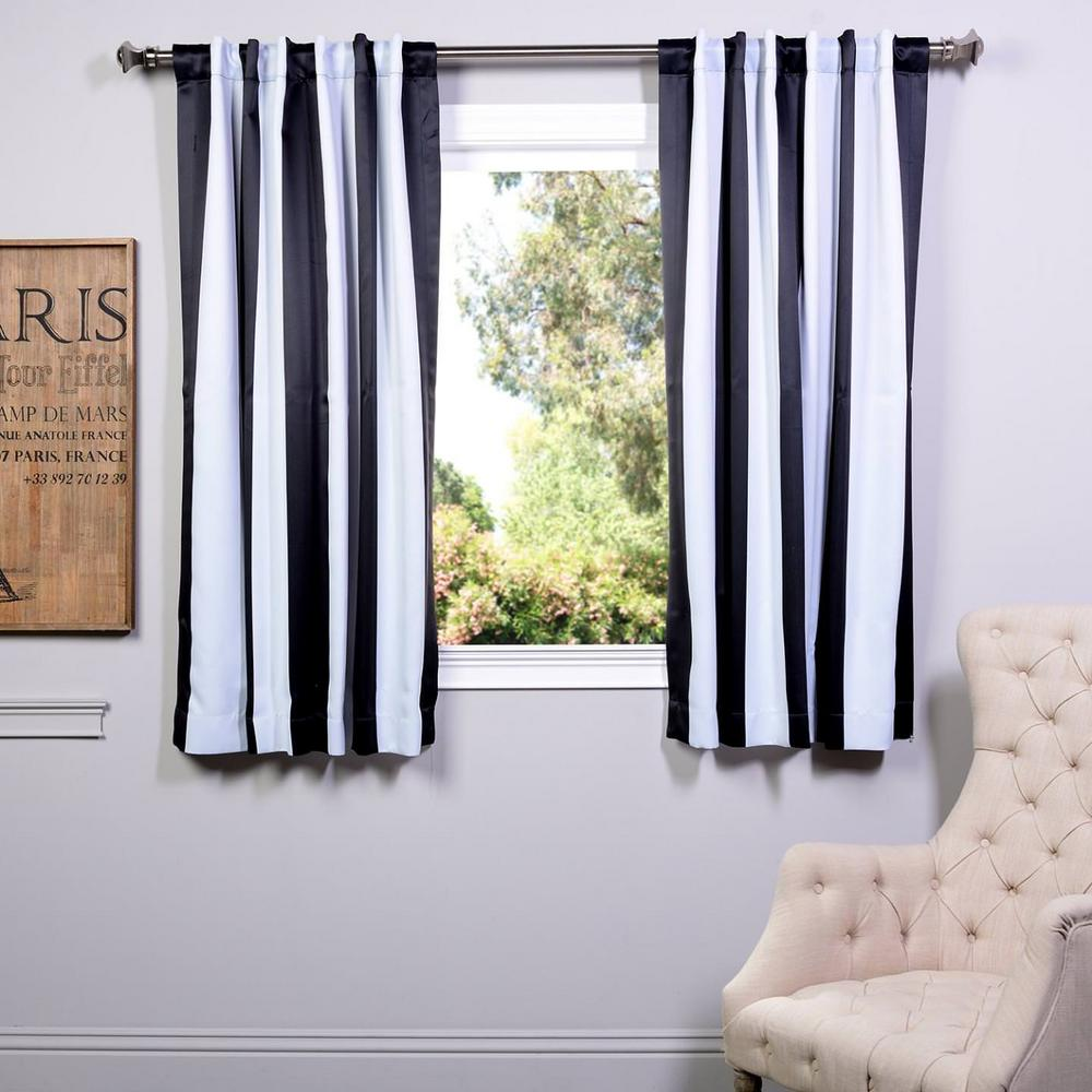 Exclusive Semi-Opaque Awning Black and White Stripe Black...