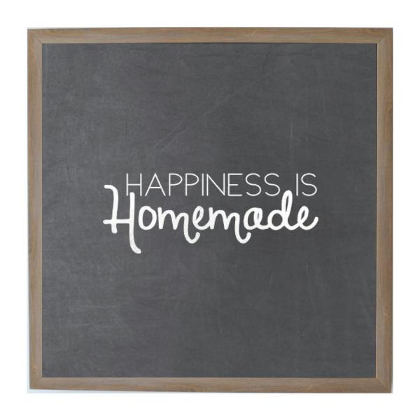 Chalk Happiness Is Homemade, Rustic Brown Frame, Magnetic Memo Board