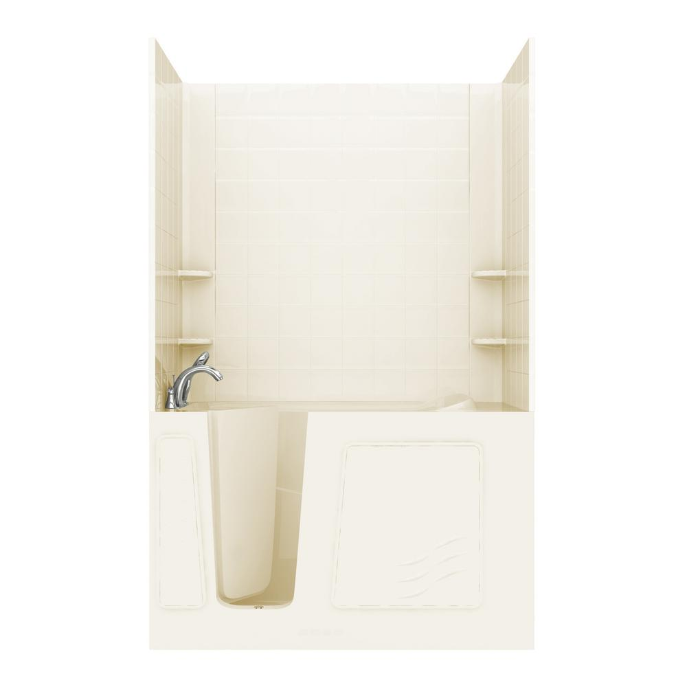 NOVA Heated Rampart 5 ft. Walk-in Non-Whirlpool Bathtub with 6 in. Tile Easy Up Adhesive Wall Surround in Biscuit