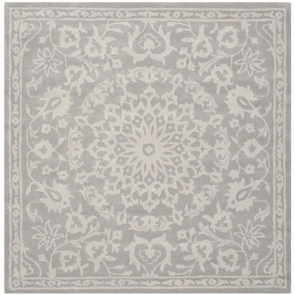 Beau Bella Grey/Silver 6 Ft. X 6 Ft. Square Area Rug