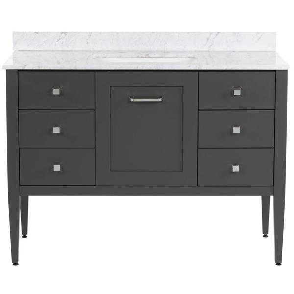 Hensley 49 in. W x 22 in. D Bath Vanity in Shale Gray with Stone Effects Vanity Top in Lunar with White Sink