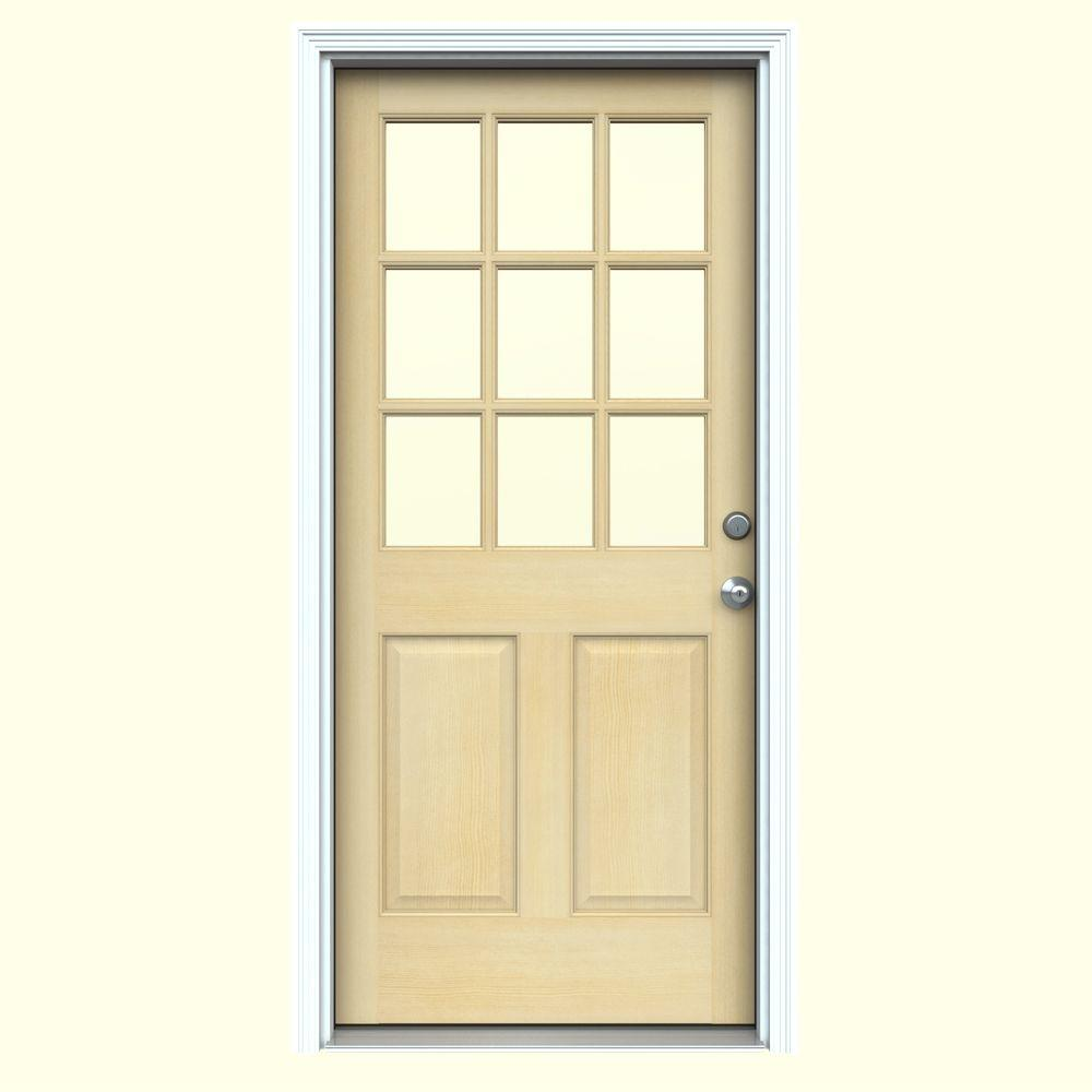 JELD-WEN 30 in. x 80 in. 9-Lite Unfinished Fir Prehung Front Door with Primed White AuraLast Jamb and Brickmold