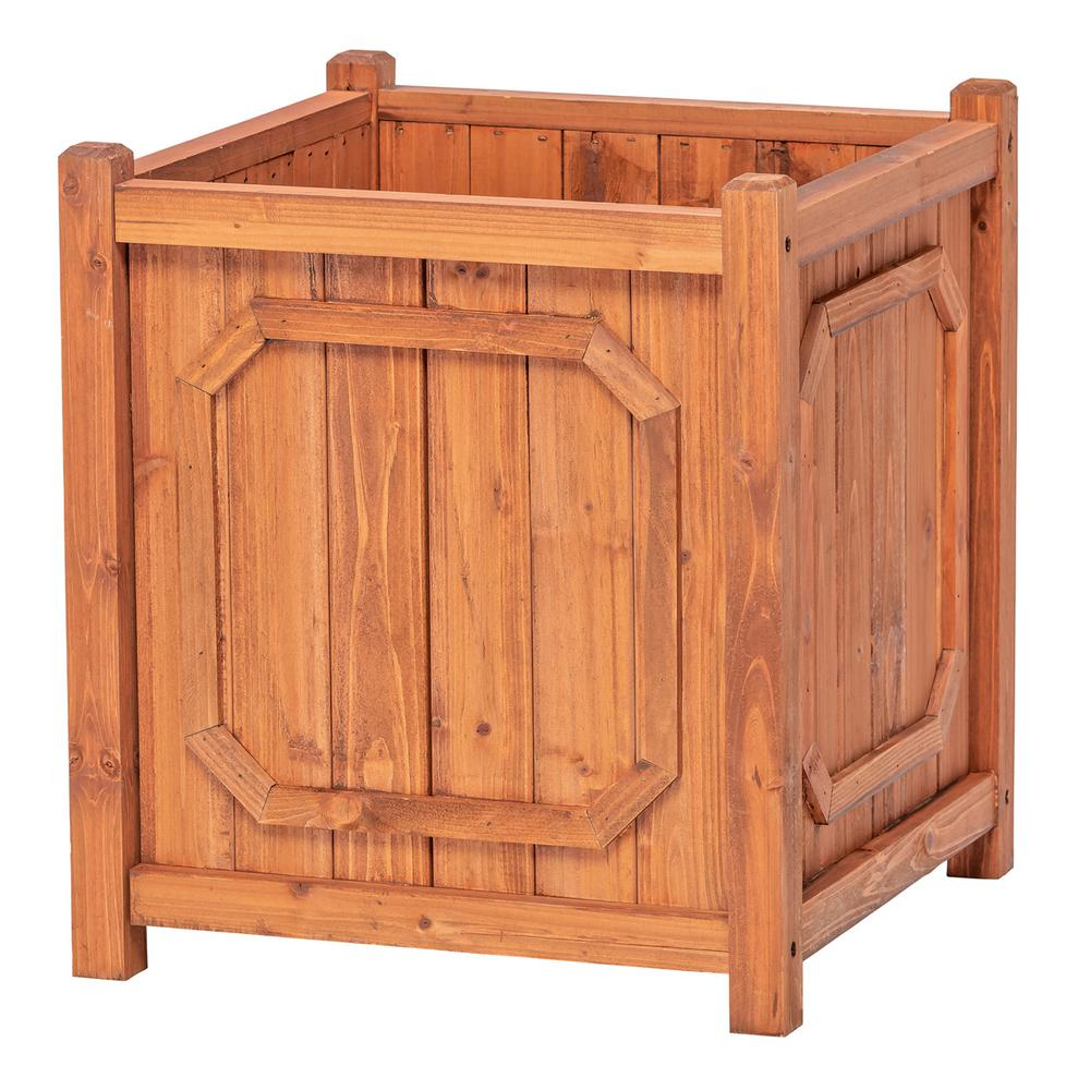 Leisure Season Manchester 16 in. W x 16 in. D x 18 in. H Square Wooden Brown Planter