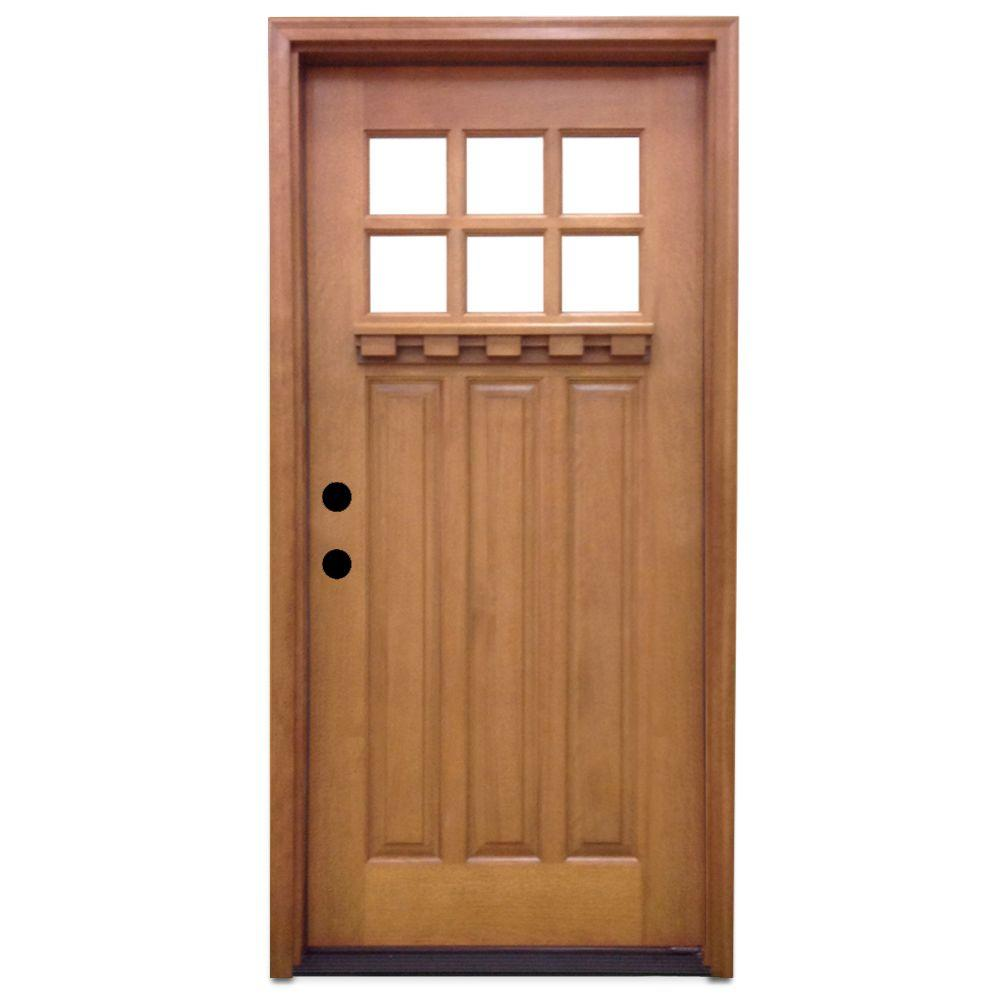 front doors with glass steves amp sons 32 in x 80 in craftsman 6 lite stained 29232