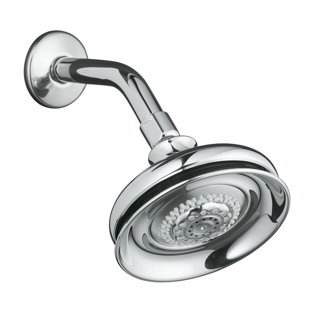 KOHLER Fairfax 5-1/2 in. 3-Spray Multifunction Raincan Showerhead in ...