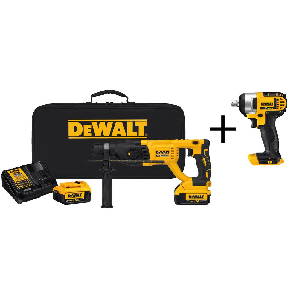 DEWALT 20-Volt MAX XR Li-Ion 1 inch Cordless SDS-plus Brushless D-Handle Rotary Hammer w/ Bonus 1/2 inch Impact Wrench