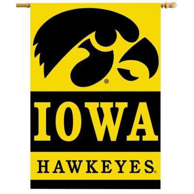 NCAA 28 in. x 40 in. Iowa 2-Sided Banner with Pole Sleeve