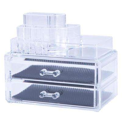 2-Piece Jewelry and Cosmetic Organizer Set in Clear