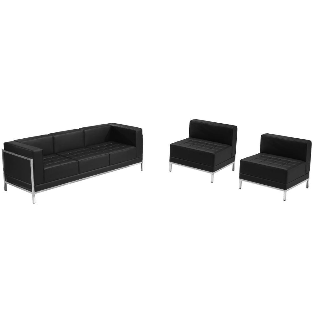 Flash Furniture Hercules Imagination Series Black Leather Sofa ...