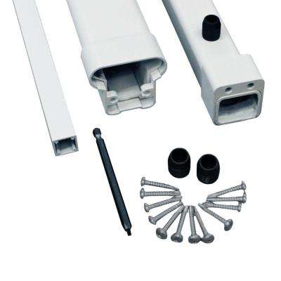 Pro 8 ft. White Aluminum Adjustable Angle Stair Top and Bottom Rail Kit