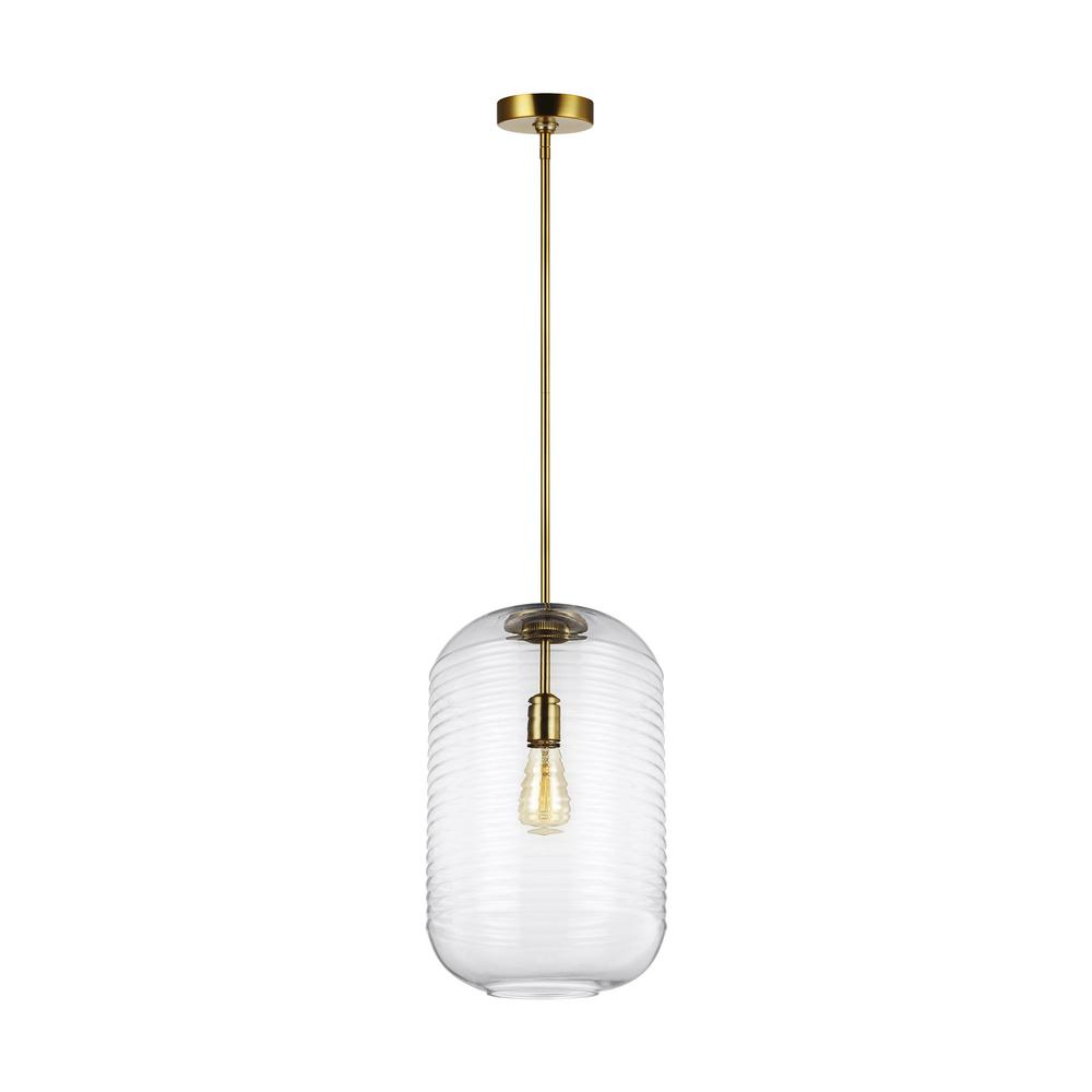 Feiss Arlon 1-Light Burnished Brass Pendant with Clear Ripple Glass Shade