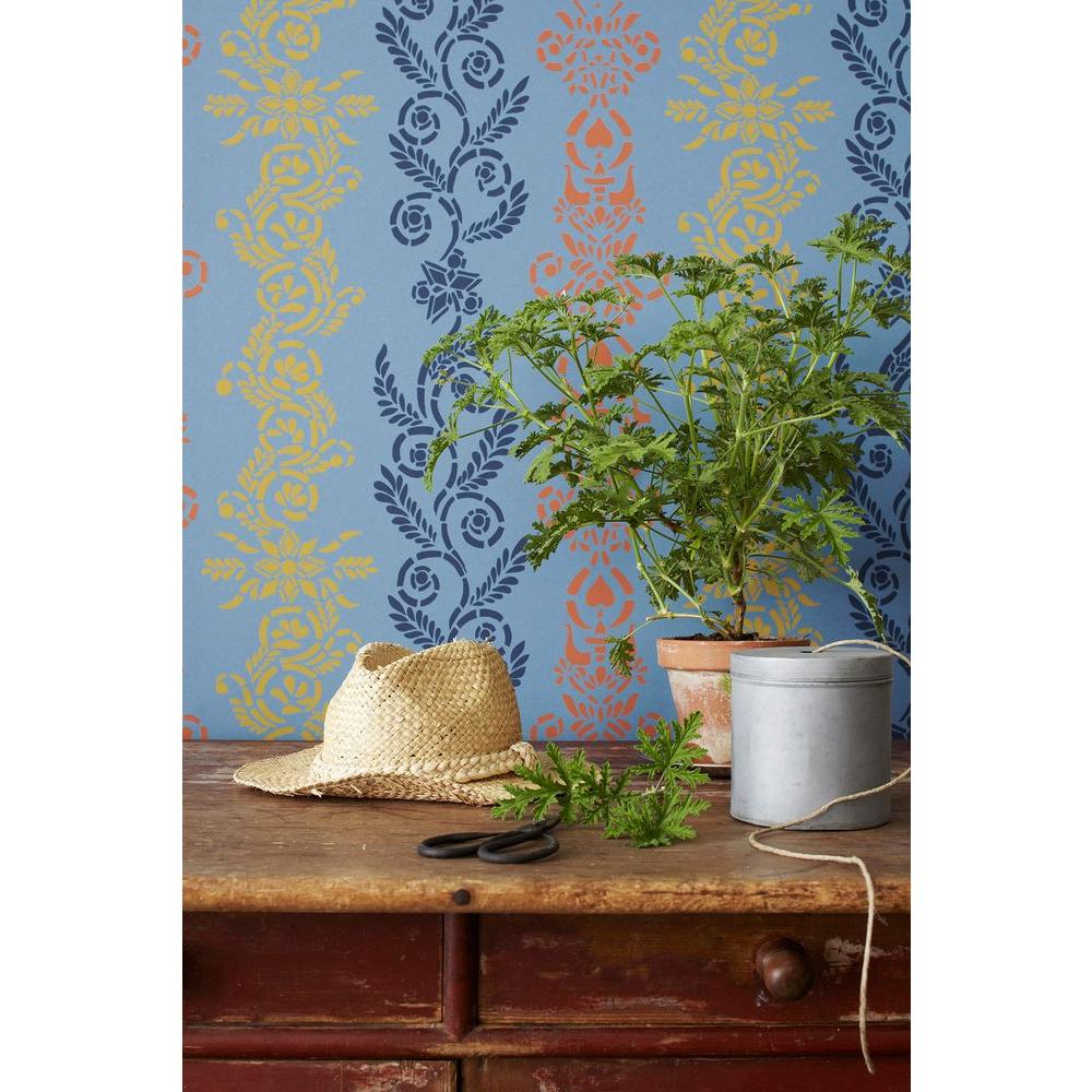 Blue Ornate Stripe Wallpaper