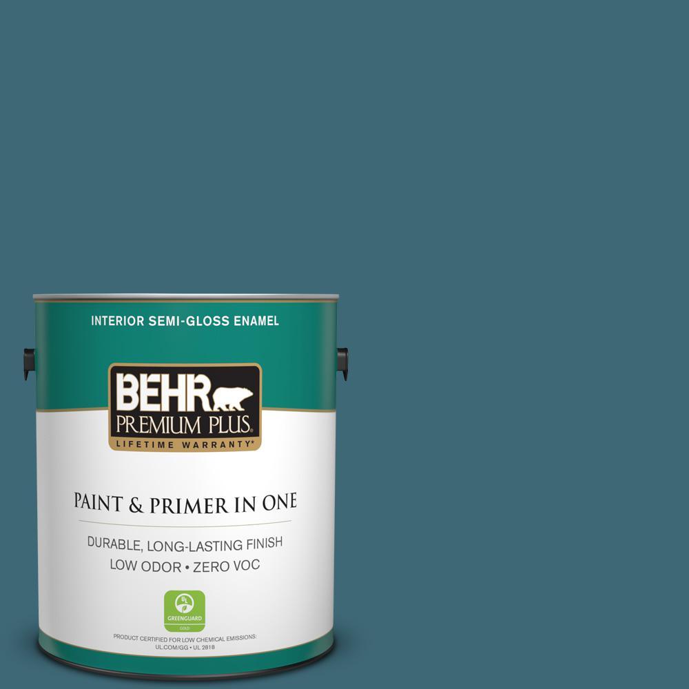 BEHR Premium Plus 1 gal. #PMD-45 Teal Mosaic Semi-Gloss Enamel Zero ...