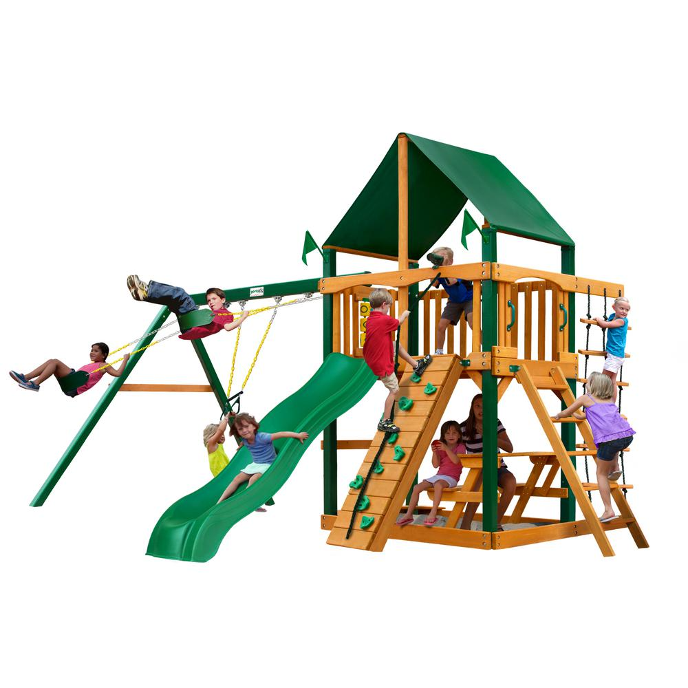 Gorilla Playsets Chateau Wooden Swing Set with Sunbrella Canvas Canopy and Timber Shield Posts and Rock Climbing Wall