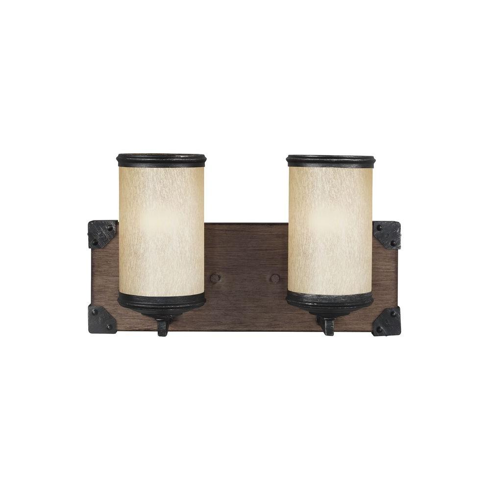 Sea Gull Lighting Dunning 2-Light Stardust and Cerused Oak Wall Sconce