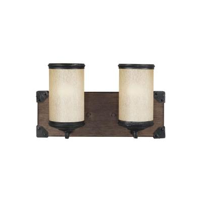Dunning 14 in. W. 2-Light Weathered Gray and Distressed Oak Vanity Light