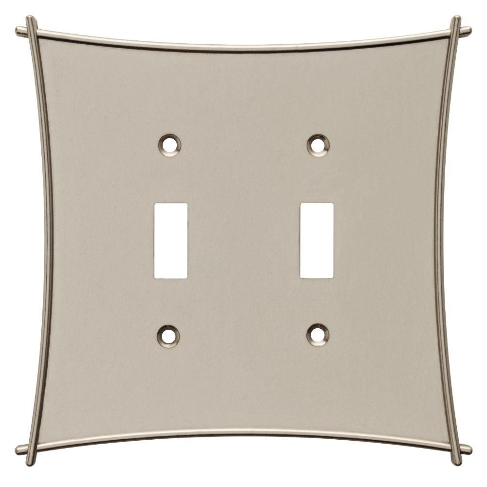 Bellaire Decorative Double Switch Plate, Satin Nickel