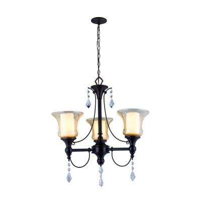 Ethelyn Collection 3-Light Oil-Rubbed Bronze Chandelier with Elegant Old World Glass Shades
