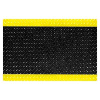 SaddleTrax Black with Yellow Safety Borders 2 ft. x 3 ft. PVC top/PVC Sponge Laminate 1 in. Thick Anti-Fatigue Mat