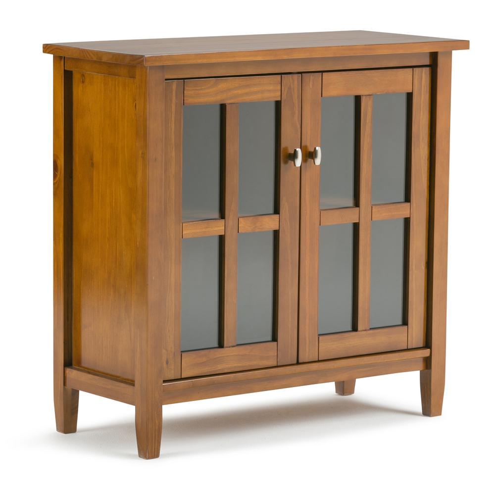 Warm Shaker Solid Wood 32 in. Light Golden Brown Wide Rustic Low Storage Cabinet
