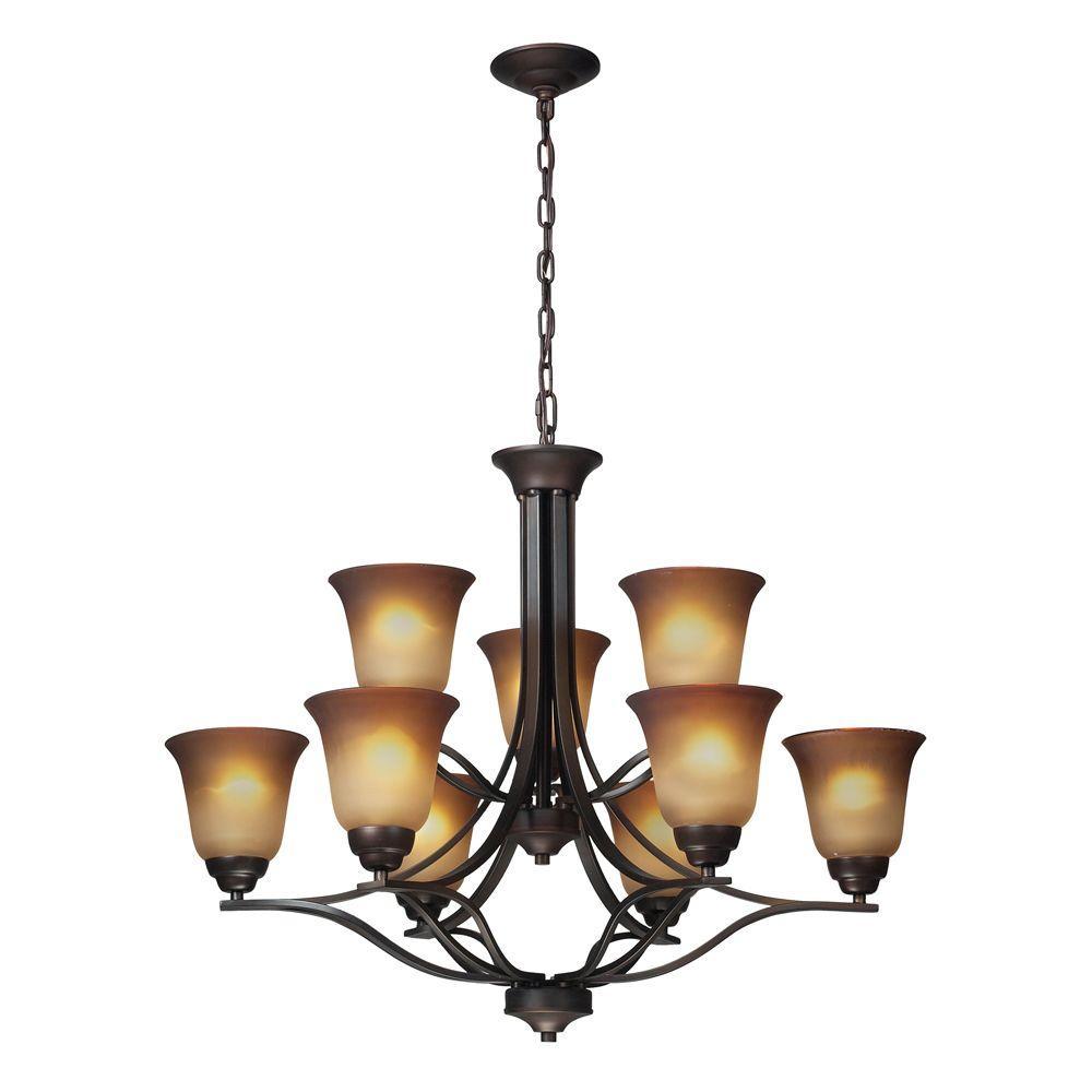 Titan Lighting Malaga 9-Light Ceiling Aged Bronze Chandelier