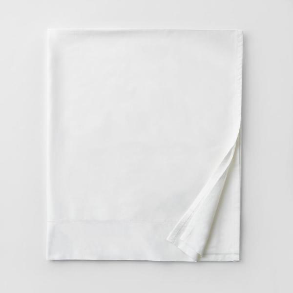 Oxygen White Solid 340-Thread Count MicroCotton Sateen Full Flat Sheet