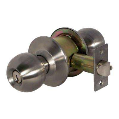 Light Duty Satin Stainless Steel Cylindrical Keyed Function Entry Door Knob