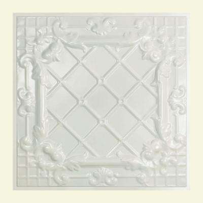 Toledo 2 ft. x 2 ft. Lay-in Tin Ceiling Tile in Gloss White