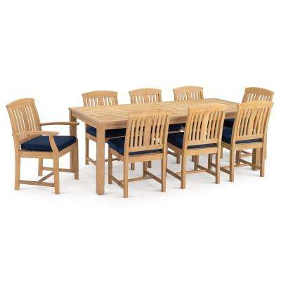 Kooper 9-Piece Wood Outdoor Dining Set with Sunbrella Navy Blue Cushions