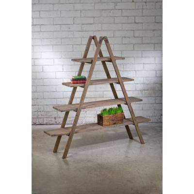 Natural Brown Washed Wood A-Frame Etagere Open Bookcase