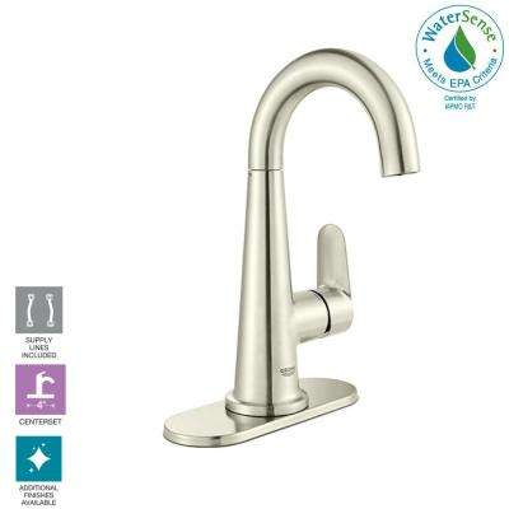 Veletto 4 in. Centerset Single-Handle Bathroom Faucet in Brushed Nickel InfinityFinish