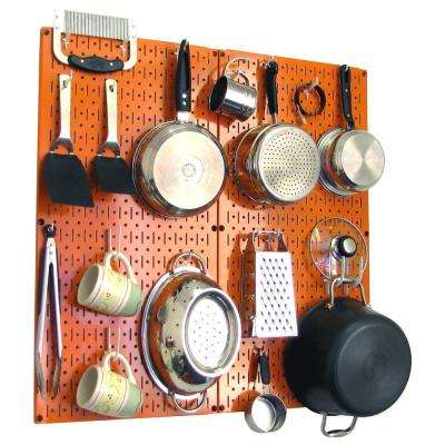 Kitchen Pegboard 32 in. x 32 in. Metal Peg Board Pantry Organizer Kitchen Pot Rack Orange Pegboard and White Peg Hooks