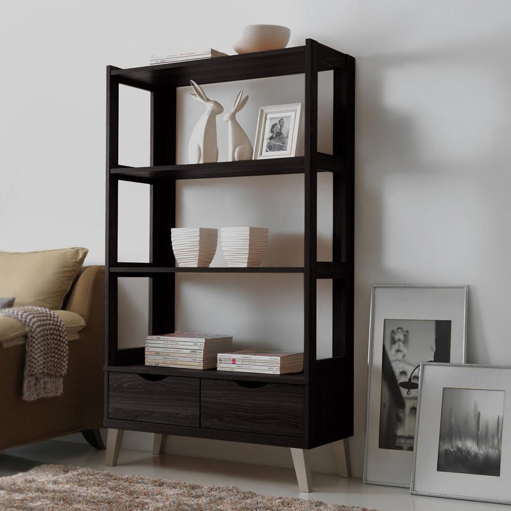 Baxton Studio Kalien I Contemporary Dark Brown Wood Finished Shelf